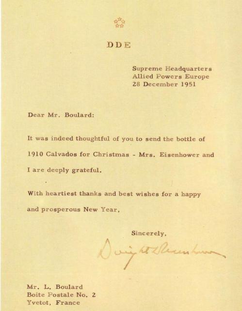 Lettre du Général Eisenhower à Lucien Boulard
